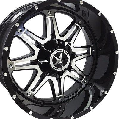 22x12 Gloss Black & Mirror Face Outlaw Wheels (4), 6 LUG, F150, Chevrolet 1500