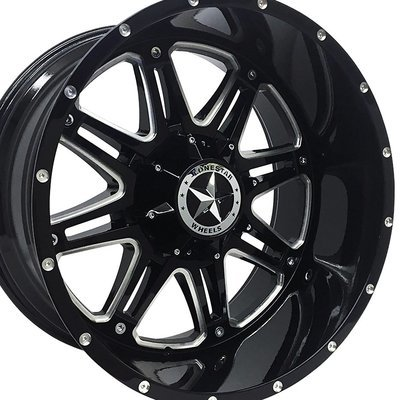 22x12 Gloss Black & Milled Outlaw Wheels (4), 6 LUG, F150, Chevrolet 1500