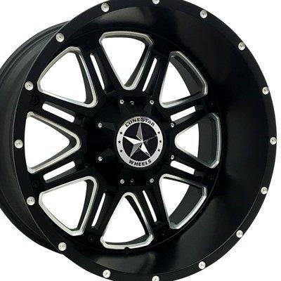22x12 Matte Black & Milled Outlaw Wheels (4), 6 LUG, F150, Chevrolet 1500