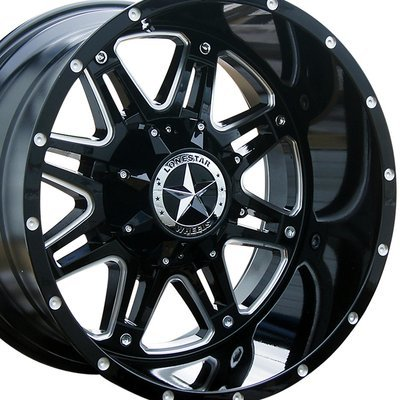 20x12 Gloss Black w/Milled Accents Outlaw Wheel, 6x5.5(6x139.7mm) & 6x135mm
