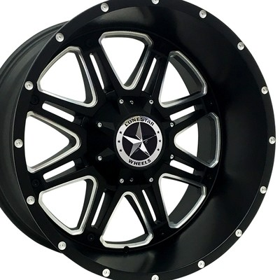 22x12 Matte Black & Milled Outlaw Wheel, 5x5.5 Ram 1500, 5x150 Tundra