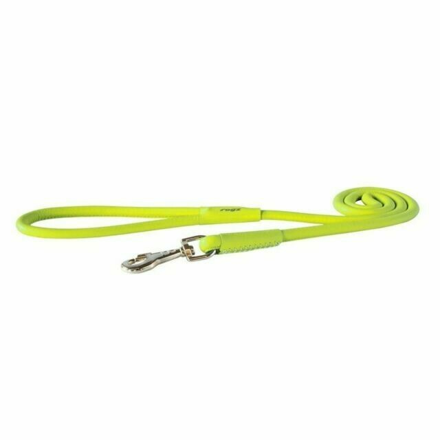 Rogz Leather Round Fixed Lead Lime