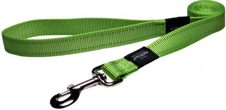 Rogz Utility Snake Medium Dog Lead Reflective - Lime
