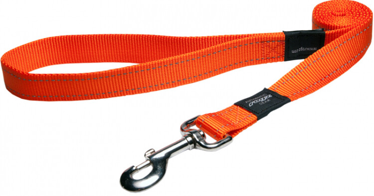 Rogz Utility Snake Medium Dog Lead Reflective - Orange