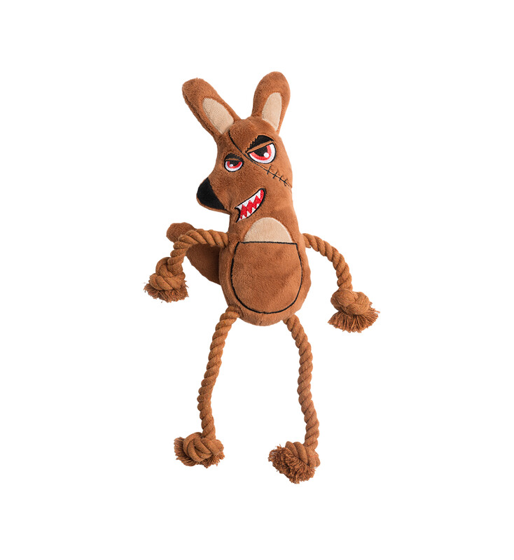 KILLER ROO PLUSH ROPE TOY WITH SQUEAKER