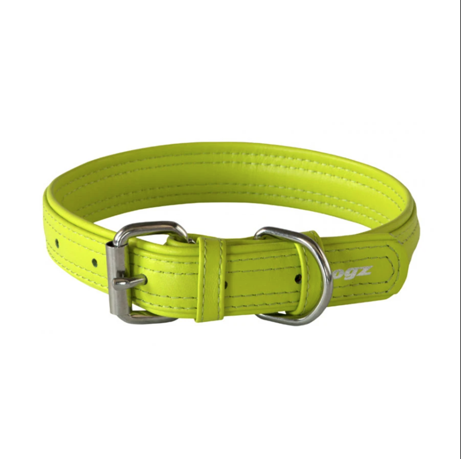 Rogz Leather - Buckle Collar Lime