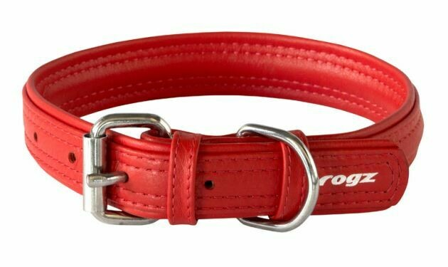Rogz Leather - Buckle Collar Red