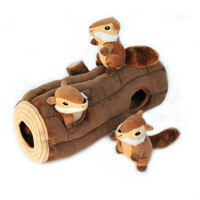 Zippy Paws Burrow Log With 3 Chipmunks