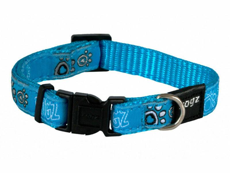 Rogz Fancy Dress Dog Collar, Turqoise Paws Design