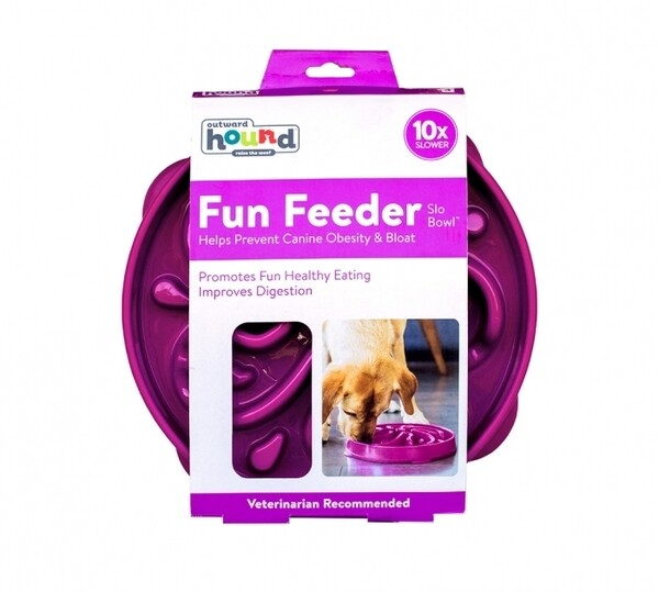 Outward Hound Fun Feeder, Slow Feeder Dog Bowl – Purple