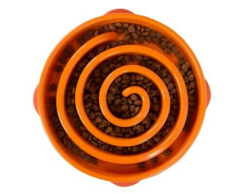 Outward Hound Fun Feeder, Slow Feeder Dog Bowl -Orange