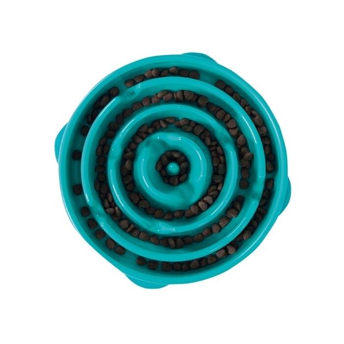 Outward Hound Fun Feeder, Slow Feeder Dog Bowl – Teal