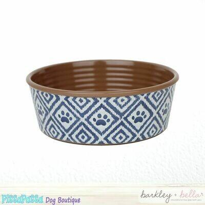 Barkley & Bella Melamine Bowl Paw Ikat Indigo Small