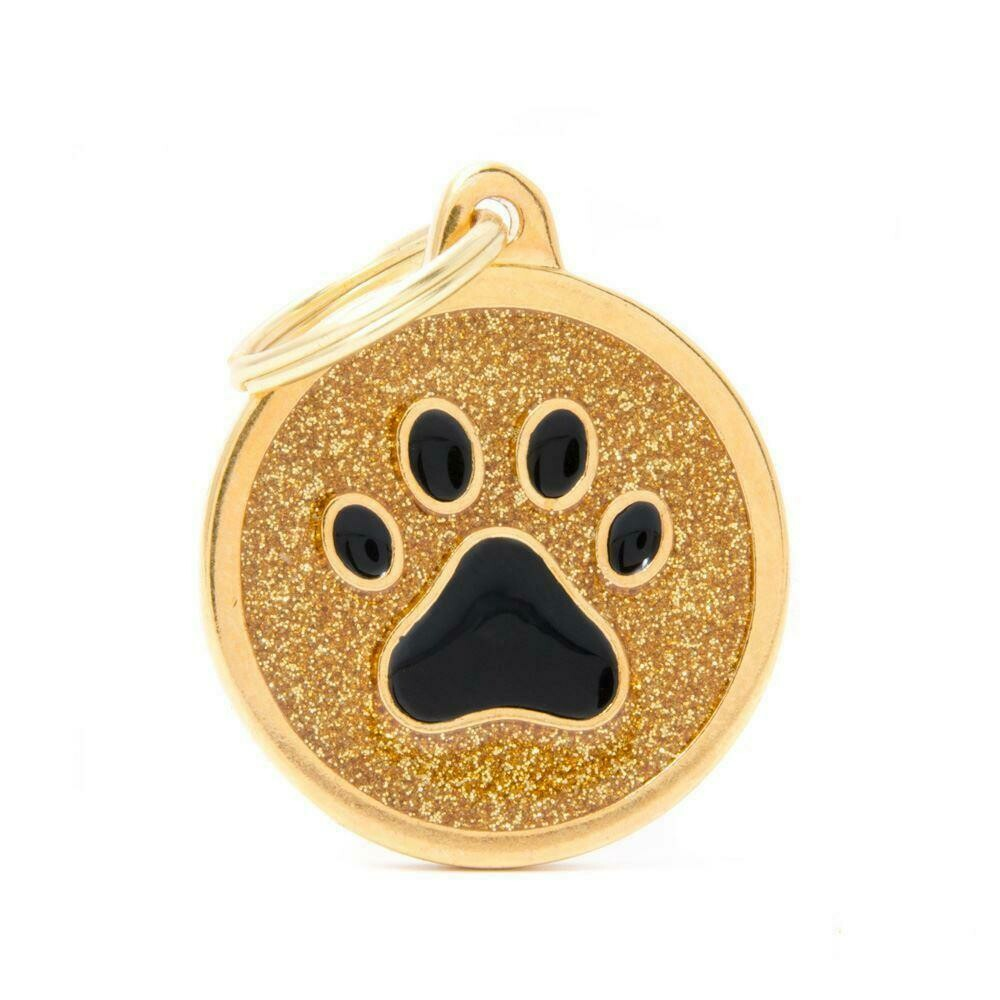 My Family Shine Gold Circle with Paw
