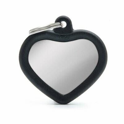 My Family Hush Tag Aluminium Chromed Black Heart with Rubber