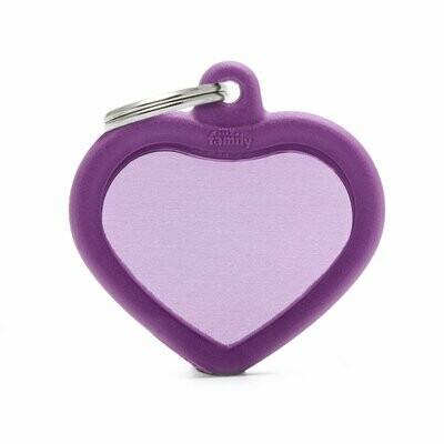 My Family Hush Tag Aluminium Purple Heart with Rubber