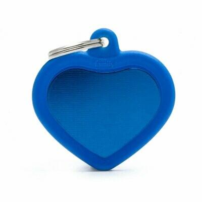 My Family Hush Tag Aluminium Blue Heart with Rubber