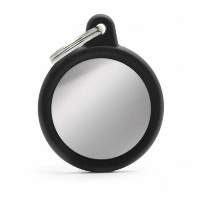 My Family Hush Tag Chromed Black Circle with Rubber