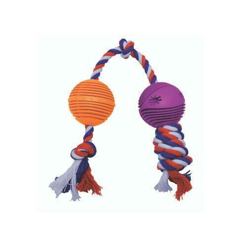 O.M.Gnaw™ Rubber Balls w/ Rope 2.5″ – Orange and Purple
