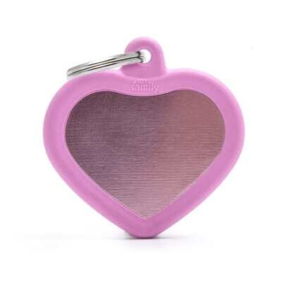 My Family Aluminium Pink Heart with Rubber