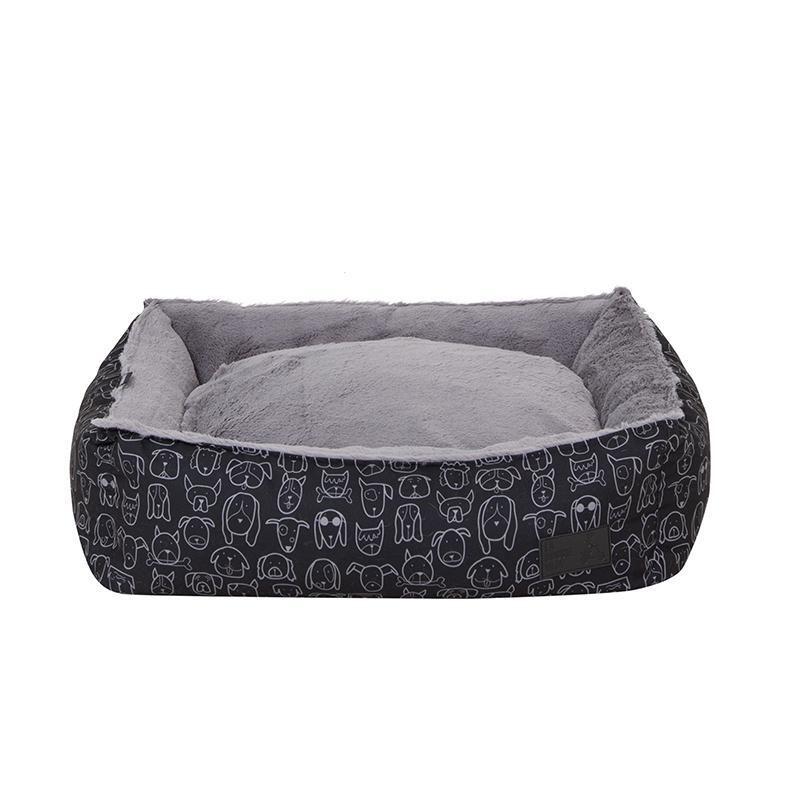 La Doggie Vita Dog Central Black Bolster Bed