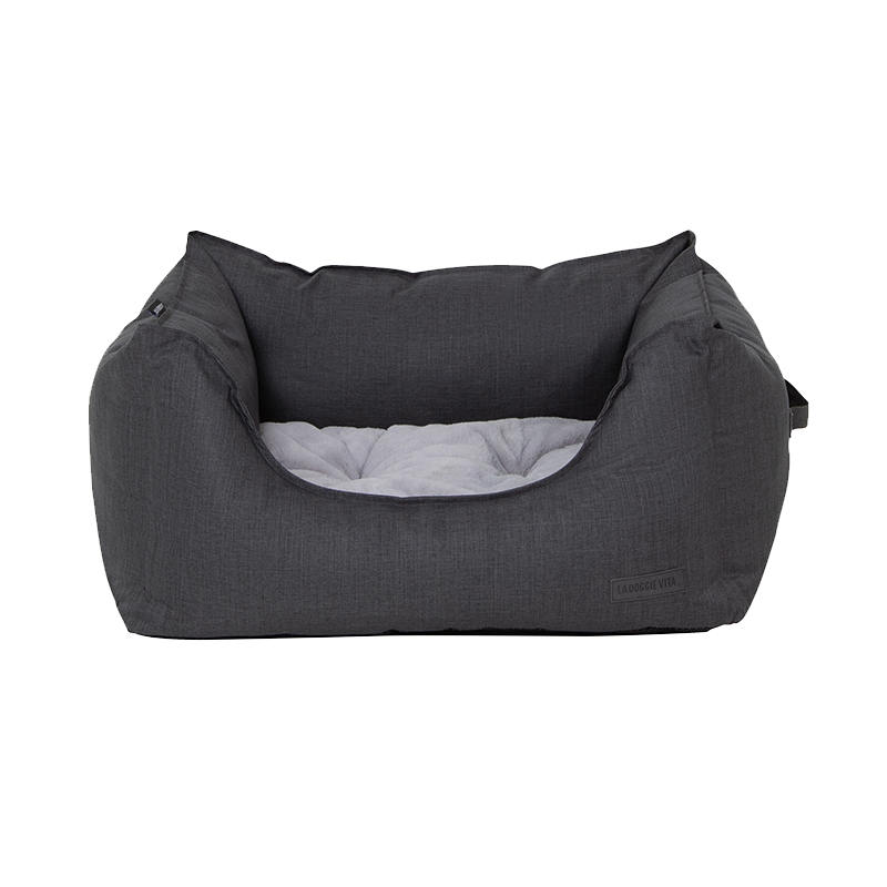 La Doggie Vita - Water Resistant Oxford High Side Charcoal Bed