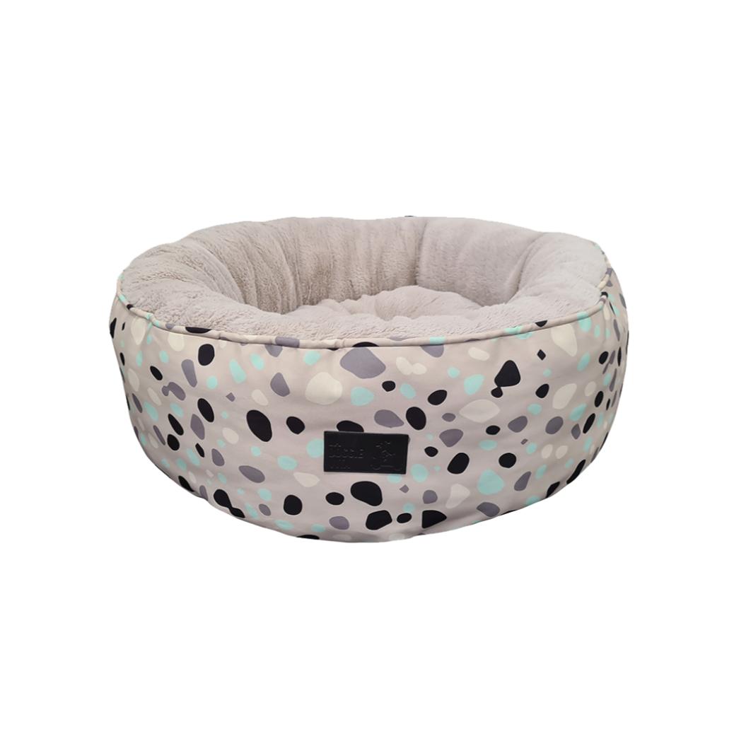 La Doggie Vita - Leo Spot Taupe Removable Cushion Round Bed