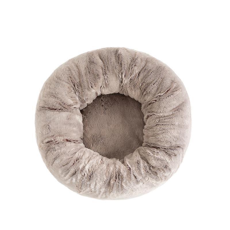 La Doggie Vita - Two tone Taupe Plush Donut Dog Bed