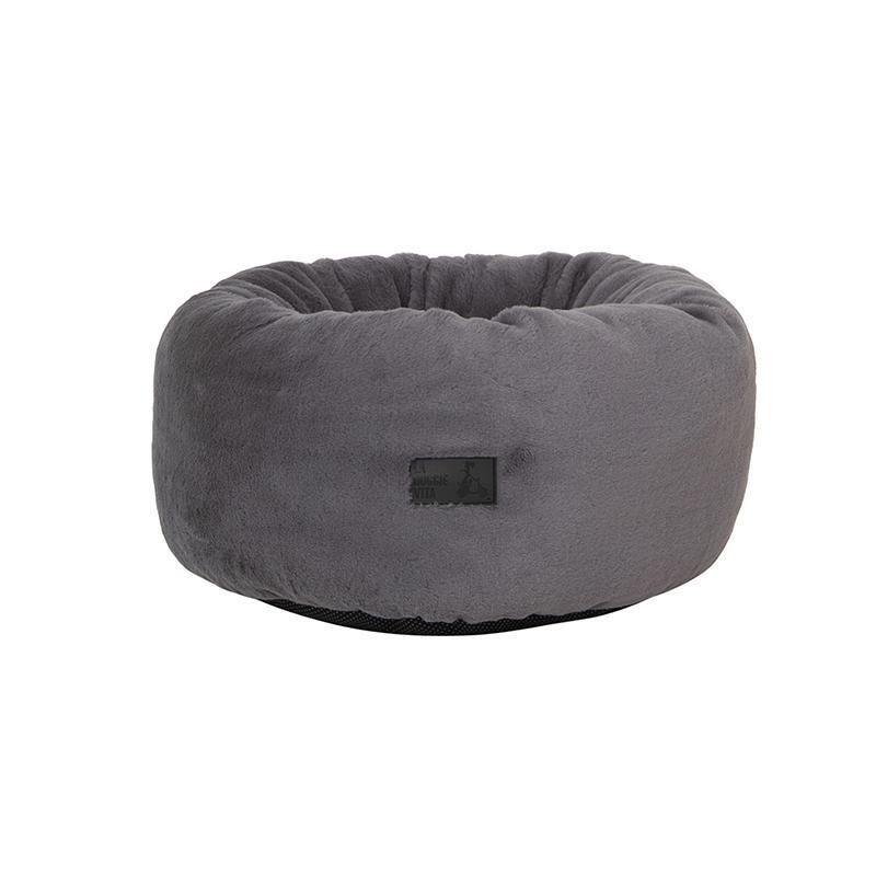La Doggie Vita - Charcoal Plush Donut Dog Bed
