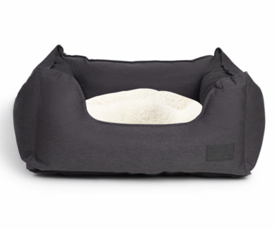 La Doggie Vita - Water Resistant High Side Charcoal Bed with cream faux fur trim.