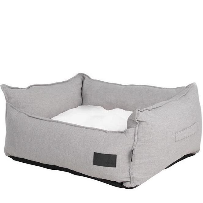 La Doggie Vita - Linen Look, Luxe Trim, Stone Grey High Side Bed