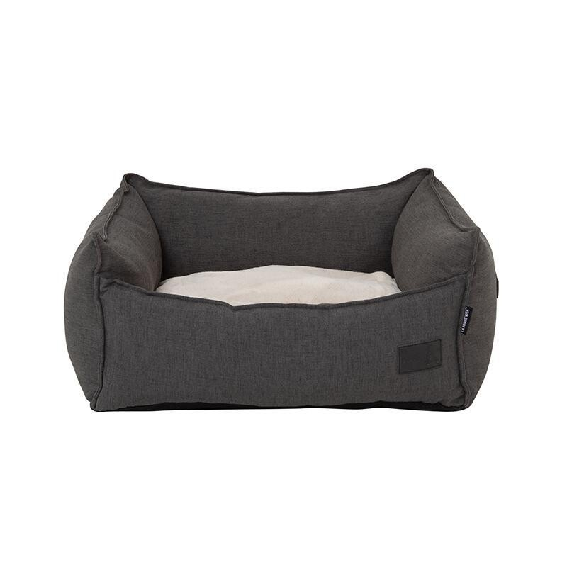La Doggie Vita - Linen Look, Luxe Trim, Charcoal Speck High Side Bed