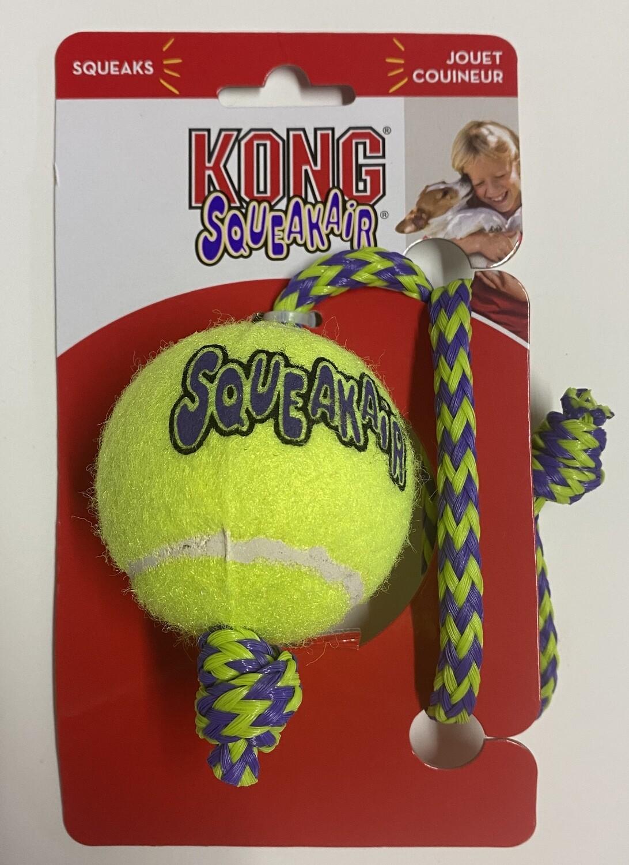 KONG AirDog Squeakair ball with Rope _ Medium