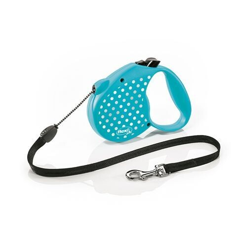 flexi™ Standard Retractrable Leash.  Cord 5 m. Blue with Silver Dots. Size Medium