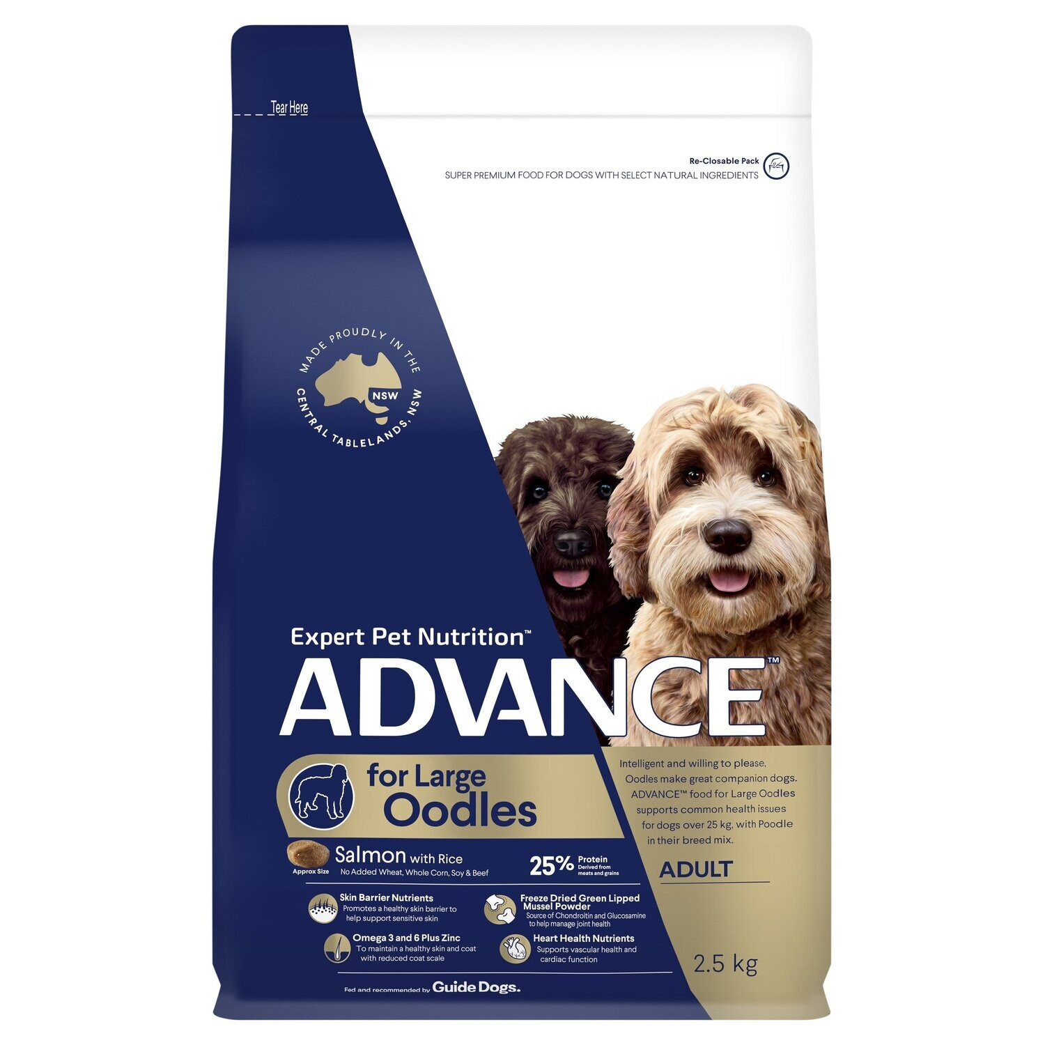 ADVANCE™ Oodles Large Breed Adult Salmon with Rice Dry Dog Food 2.5kg
