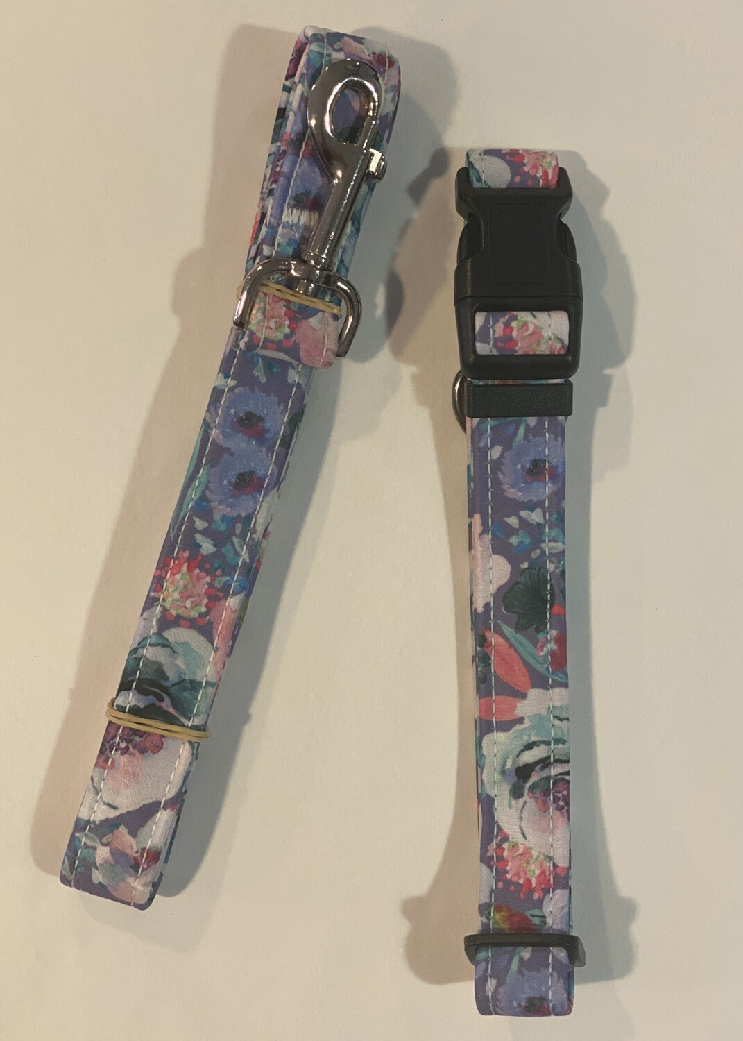 Collar and Lead Set - Large. Lilac Rose