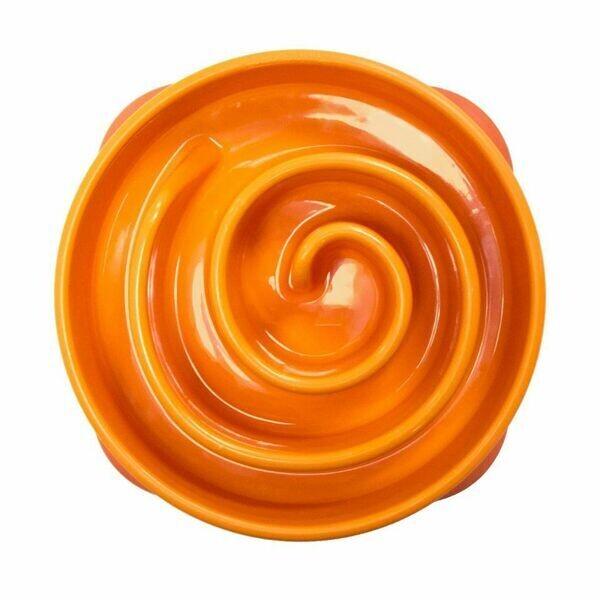 Outward Hound Fun Feeder, Slow Feeder Dog Bowl - Orange
