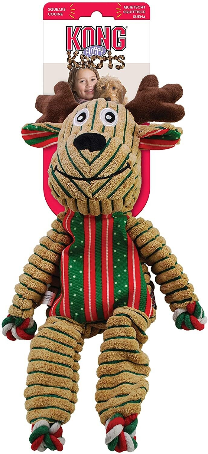 KONG - Holiday Floppy Knots Reindeer - Indoor Cuddle Plush Dog Toy