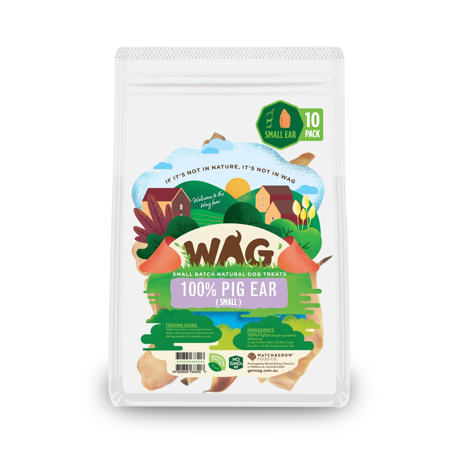 GetWag Small Pig Ears 10 in Pack.