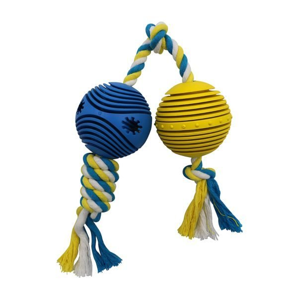 Rubber Balls w/ Rope 2.5″ – Blue & Yellow