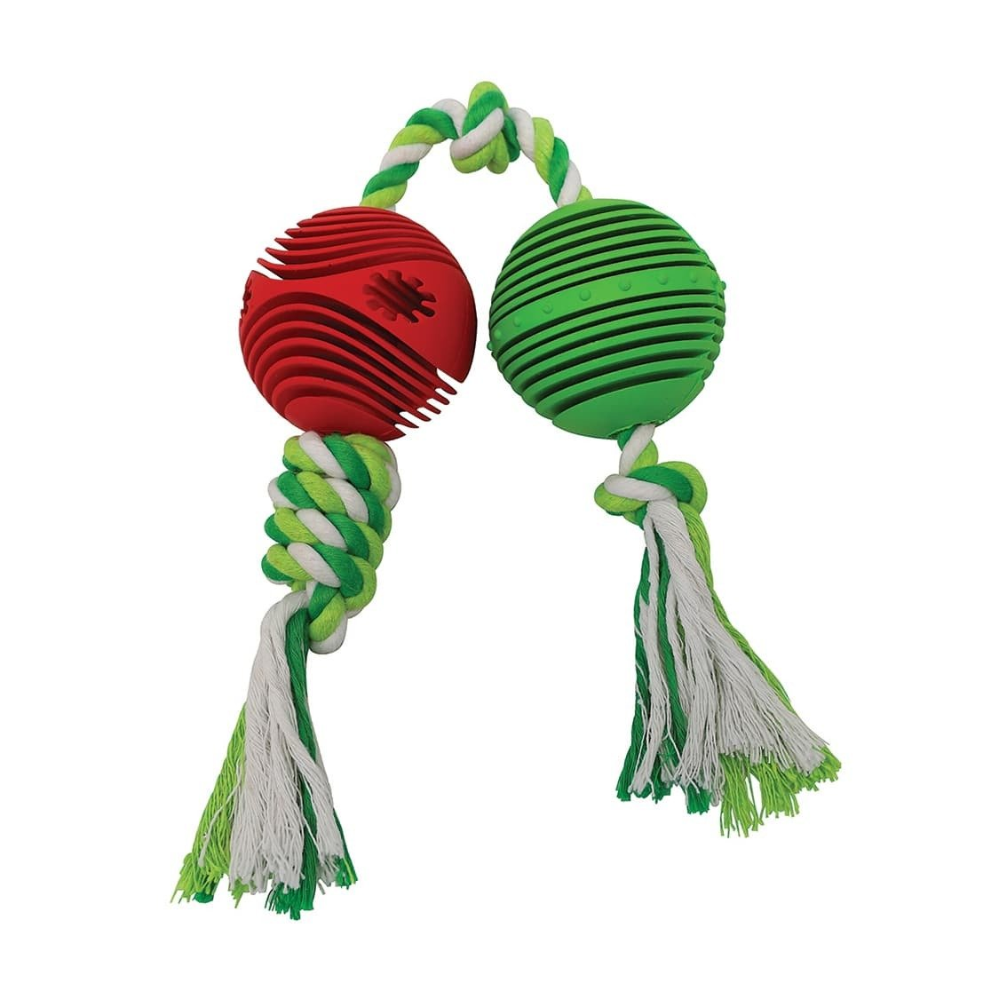 Rubber Balls w/ Rope 2.5″ – Green & Red