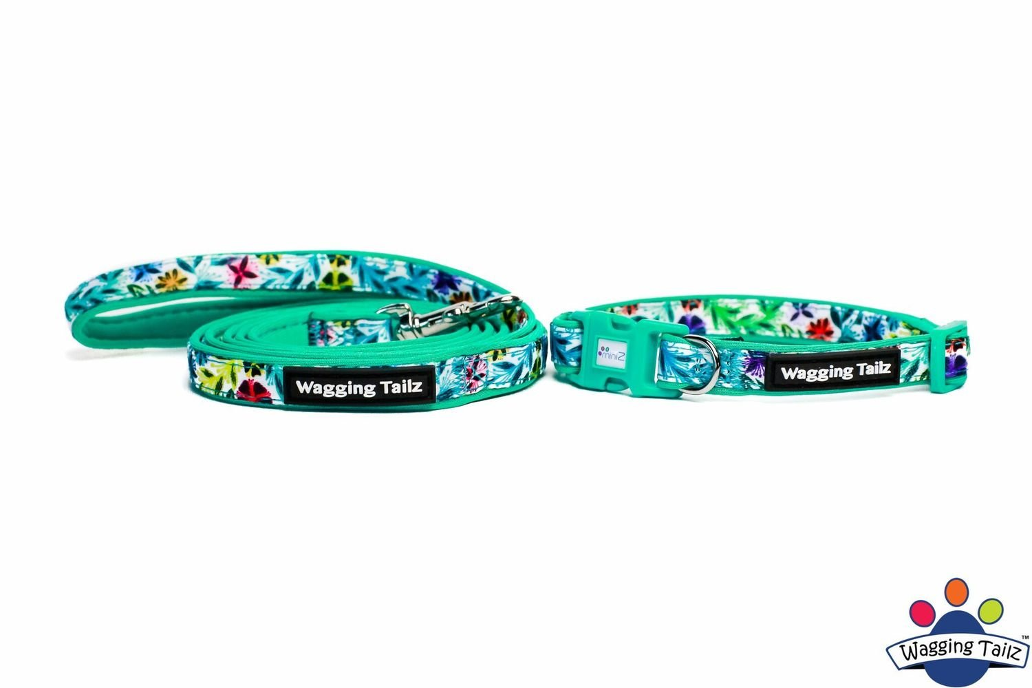 Dahlia Teal Collar and Lead