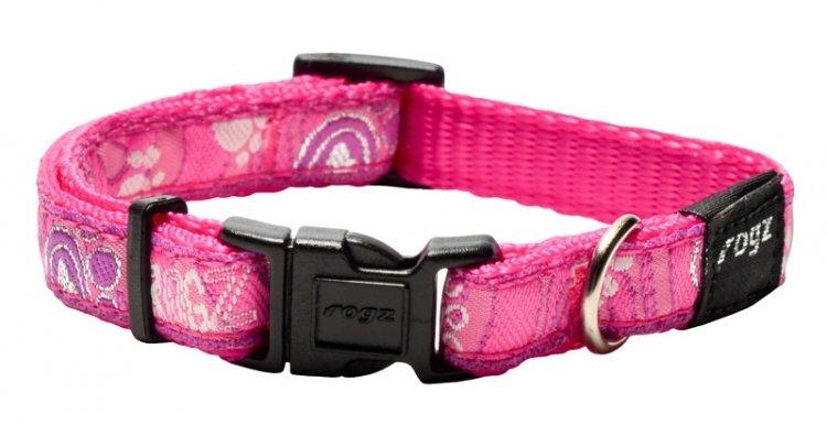 Rogz Fancy Dress Dog Collar, Pink  Paws Design