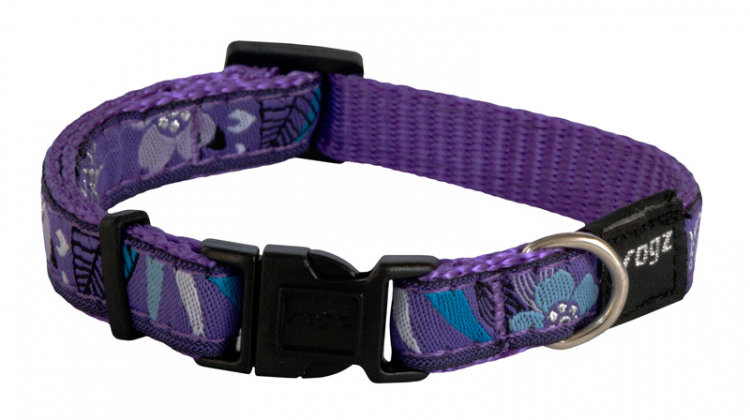 Rogz Fancy Dress Dog Collar, Purple Forest Design