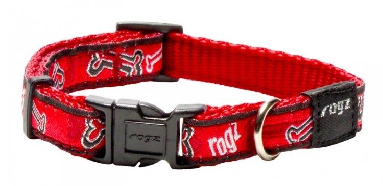 Rogz Fancy Dress Dog Collar, Red Bones Design