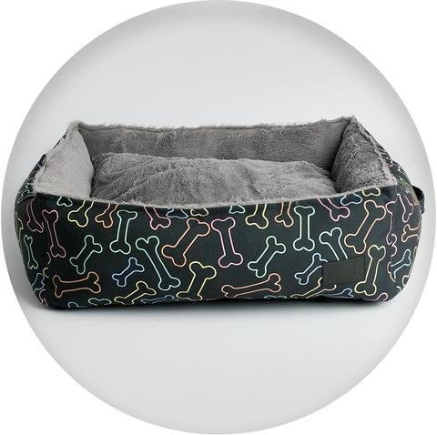 La Doggie Vita Neon Bone Print Square Bed (black)