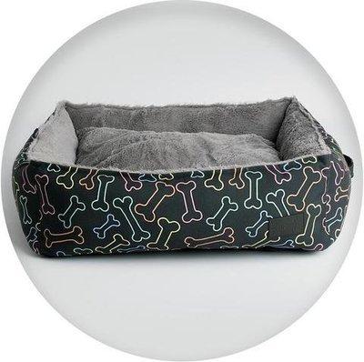 La Doggie Vita Neon Bone Print Square Bed (black)