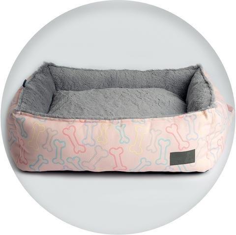 La Doggie Vita Neon Bone Print Square Bed (pink)