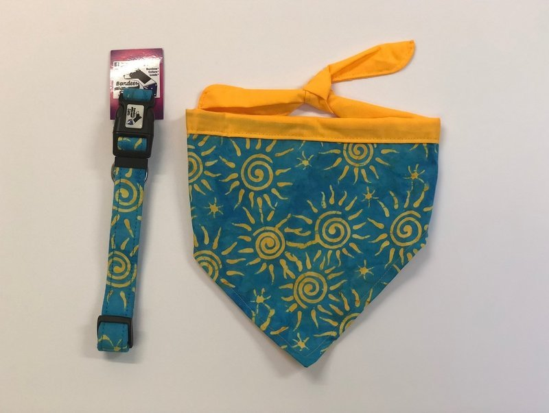 Blue Sky and Sunshine Bandana, and Collar
