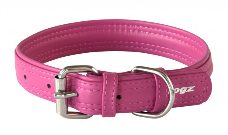 Rogz Leather - Buckle Collar Pink
